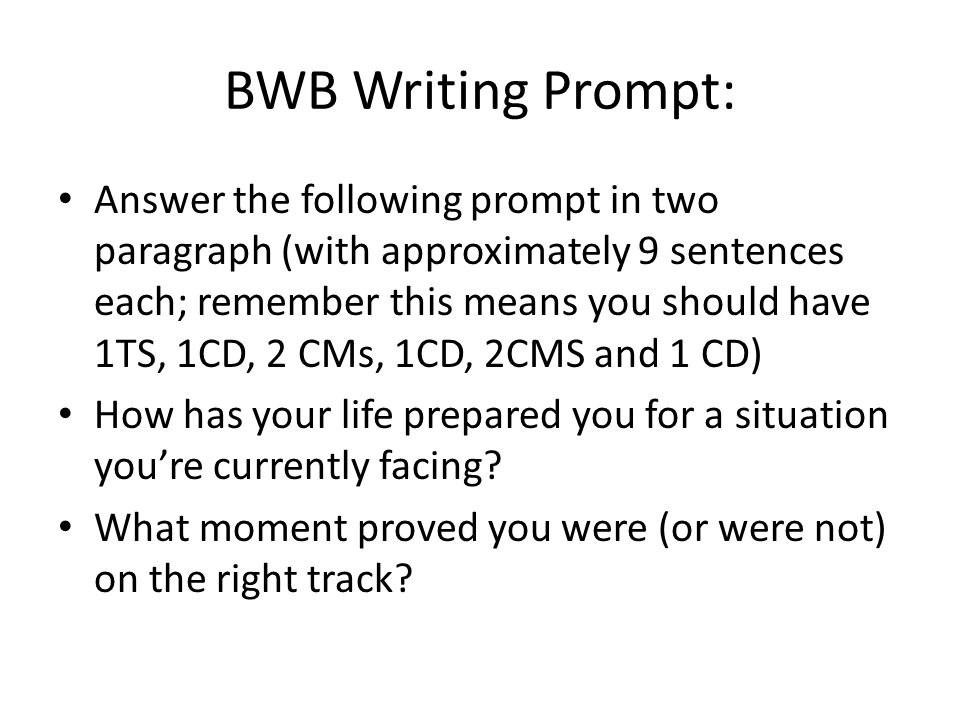 BWB Writing Prompt: