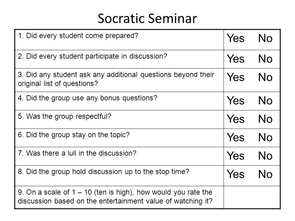 Socratic Seminar Yes No 1. Did every student come prepared