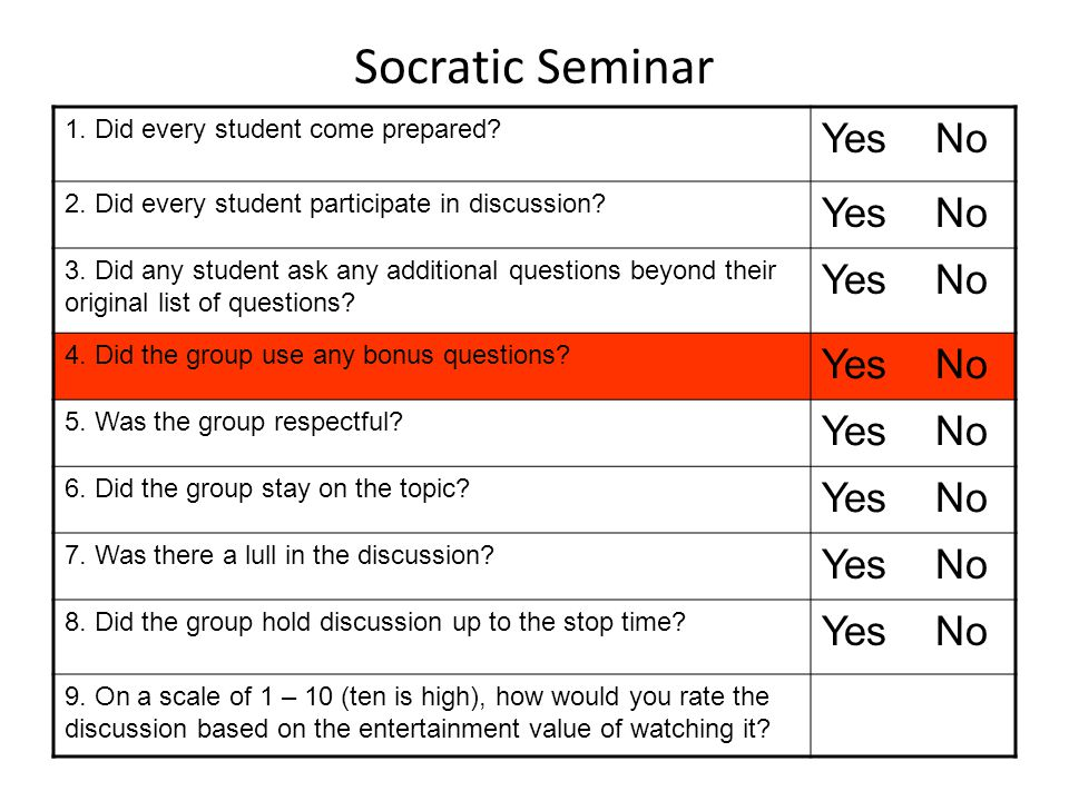 Socratic Seminar Yes No 1. Did every student come prepared