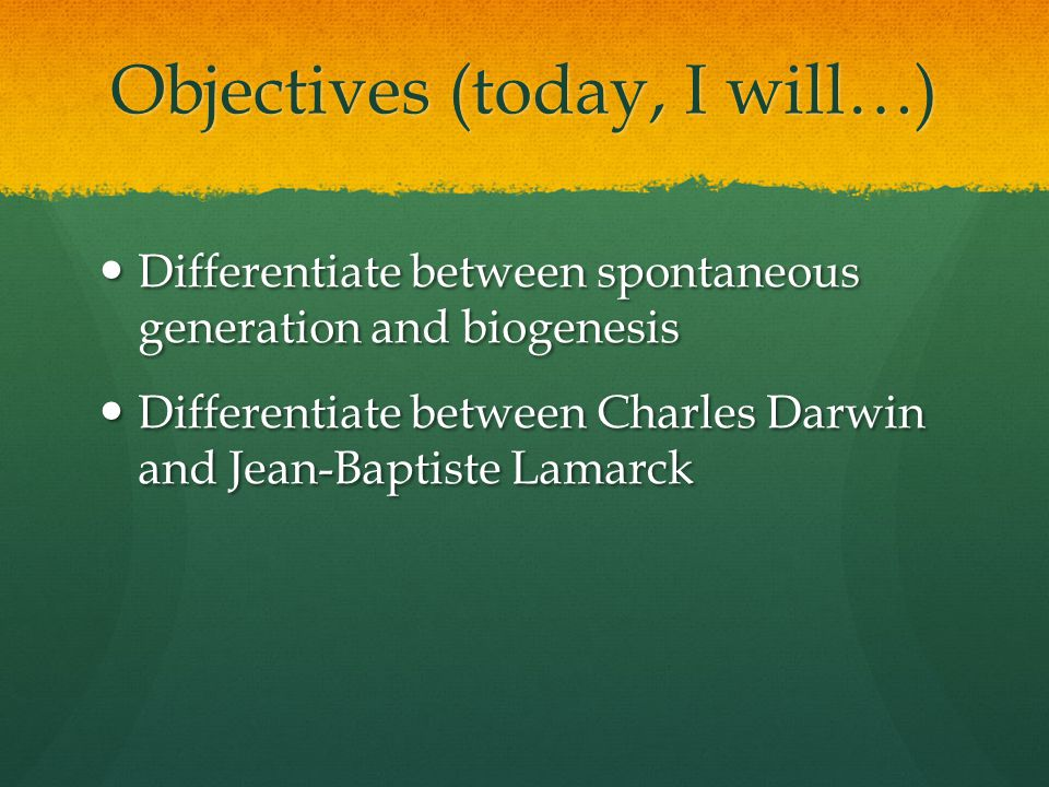 Objectives (today, I will…)