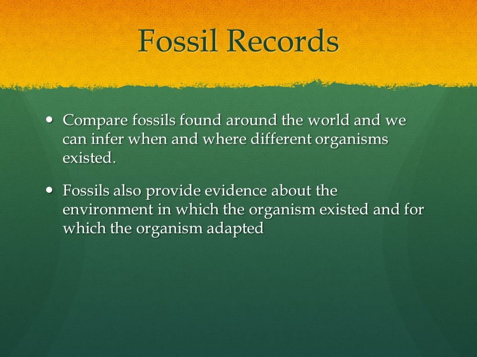 Fossil Records Compare fossils found around the world and we can infer when and where different organisms existed.