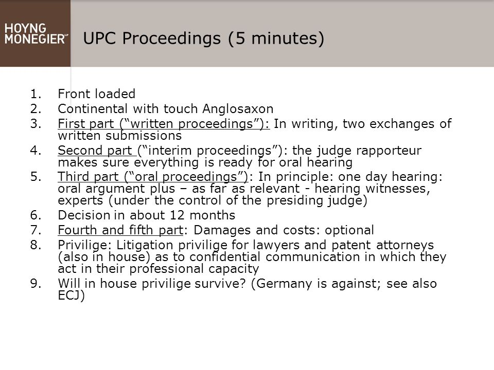 UPC Proceedings (5 minutes)