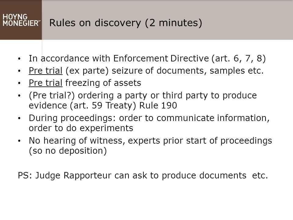 Rules on discovery (2 minutes)