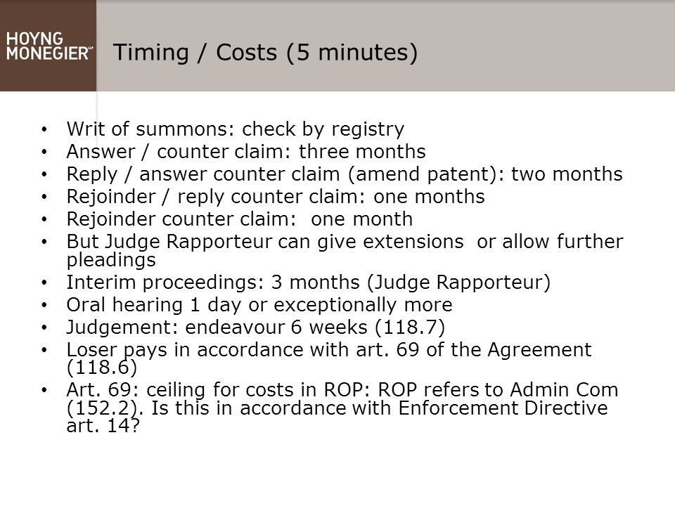 Timing / Costs (5 minutes)