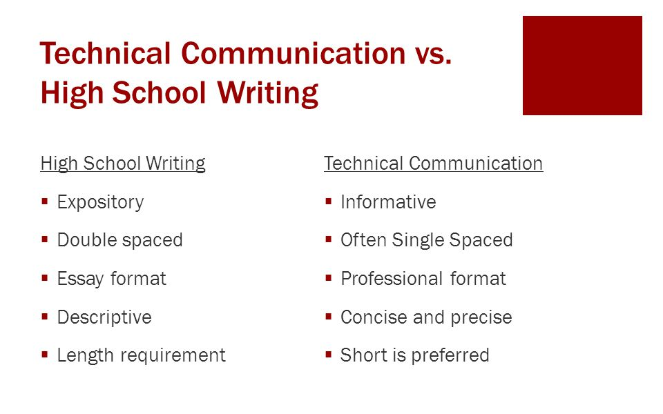 Technical Communication vs. High School Writing