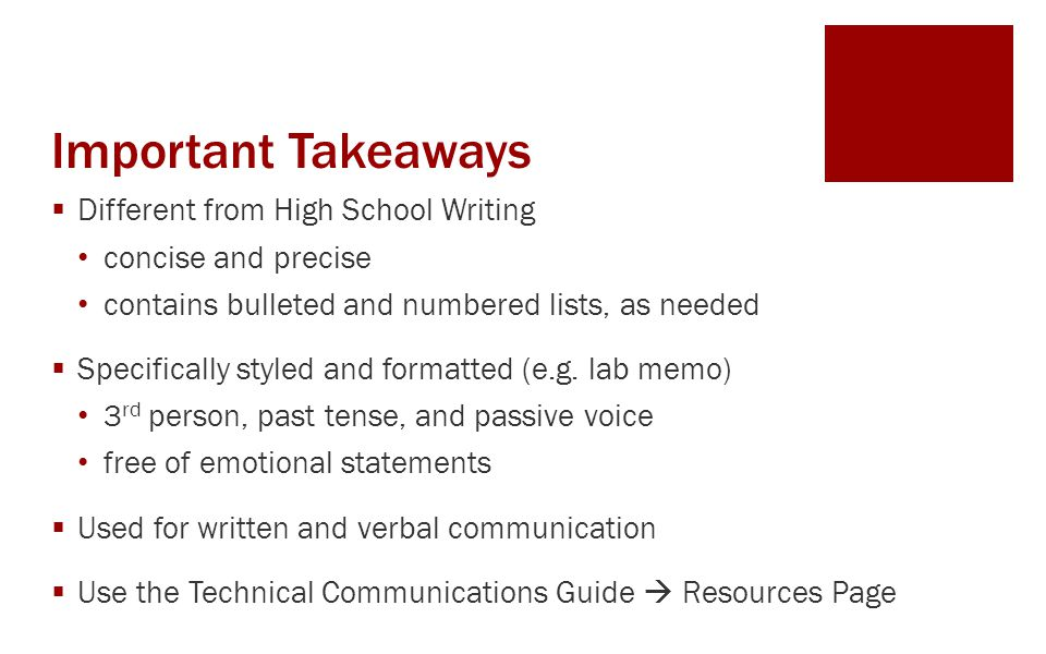Important Takeaways Different from High School Writing