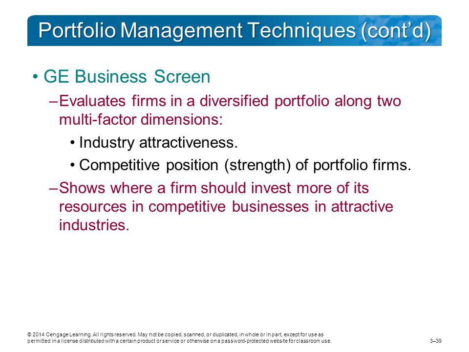 Portfolio Management Techniques (cont'd)