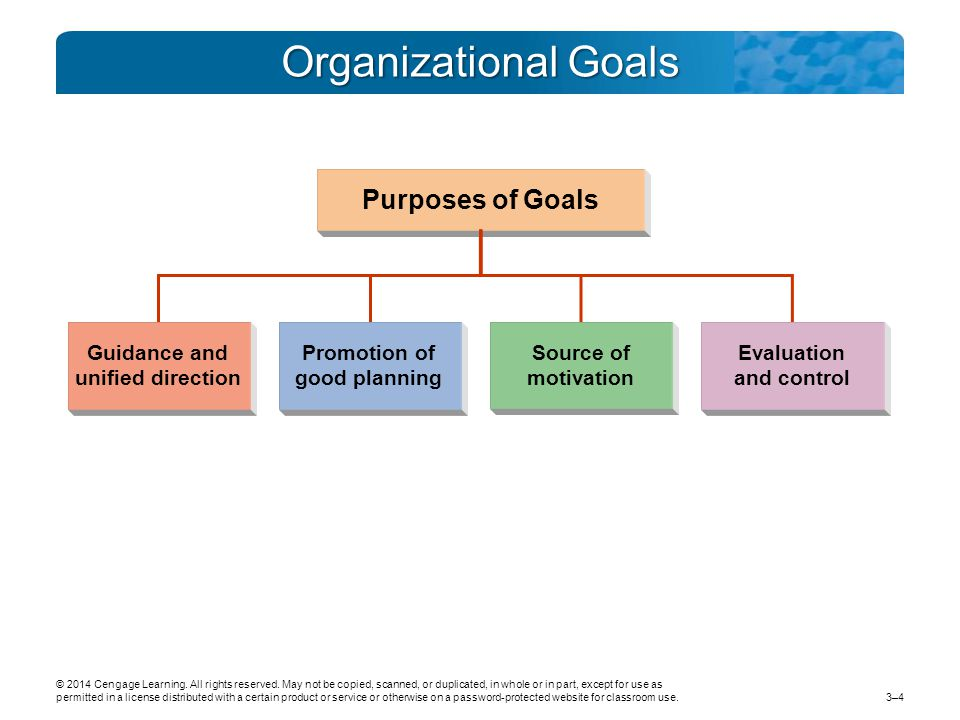 Organizational Goals Purposes of Goals Guidance and unified direction