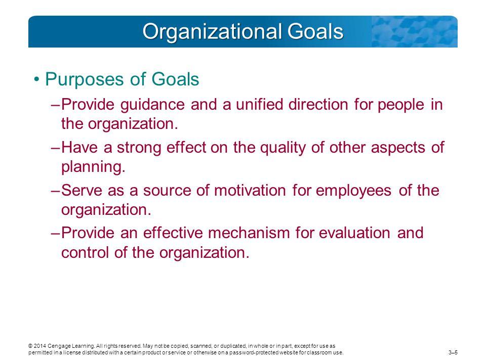 Organizational Goals Purposes of Goals