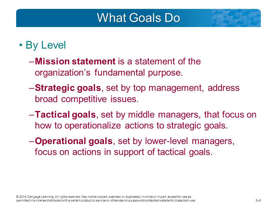 What Goals Do By Level. Mission statement is a statement of the organization's fundamental purpose.