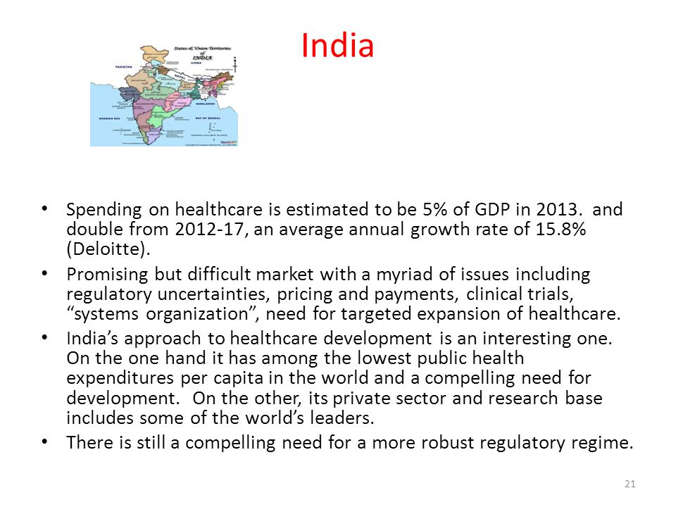 Brazil Healthcare spending has increased in recent years to 8.9% of GDP. Forecast to exceed $250 billion by 2017.