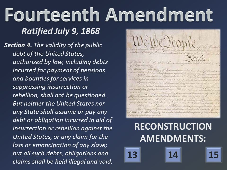 RECONSTRUCTION AMENDMENTS: