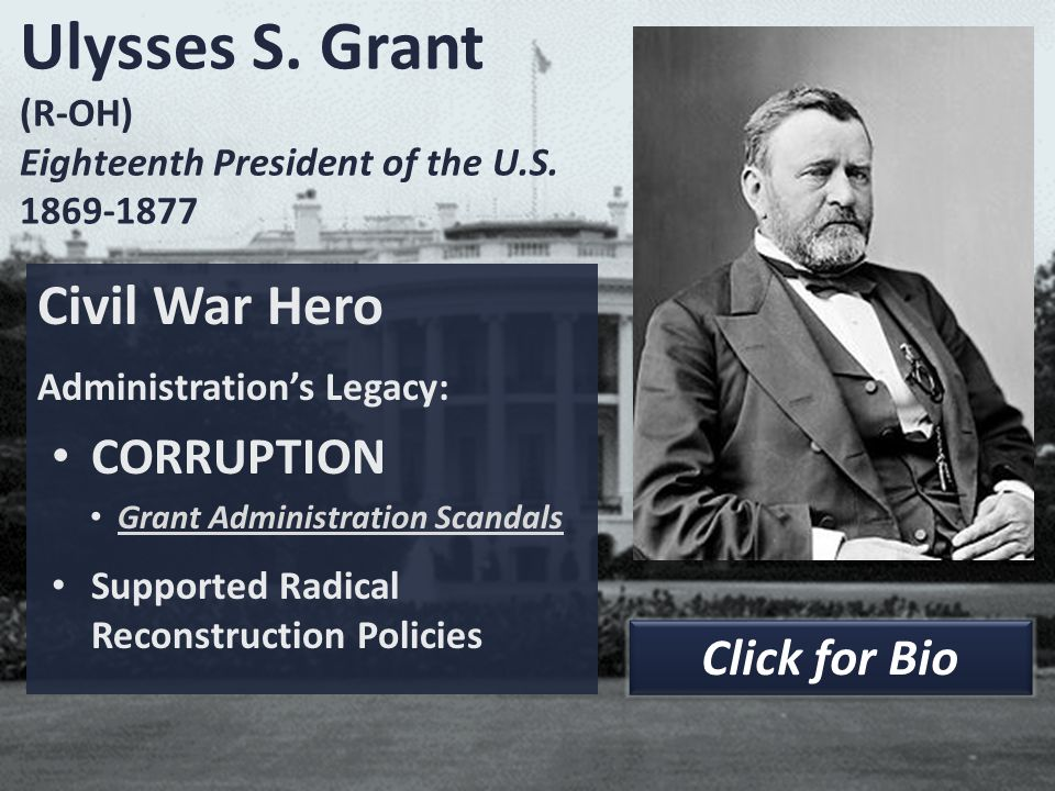 Ulysses S. Grant (R-OH) Eighteenth President of the U.S. 1869-1877