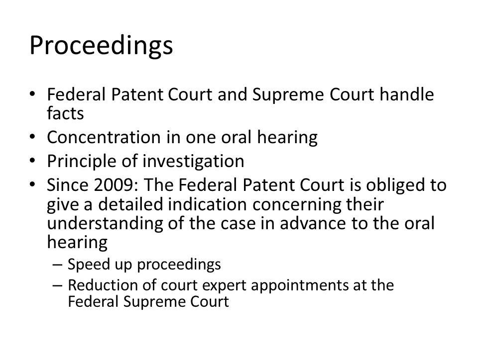 Proceedings Federal Patent Court and Supreme Court handle facts