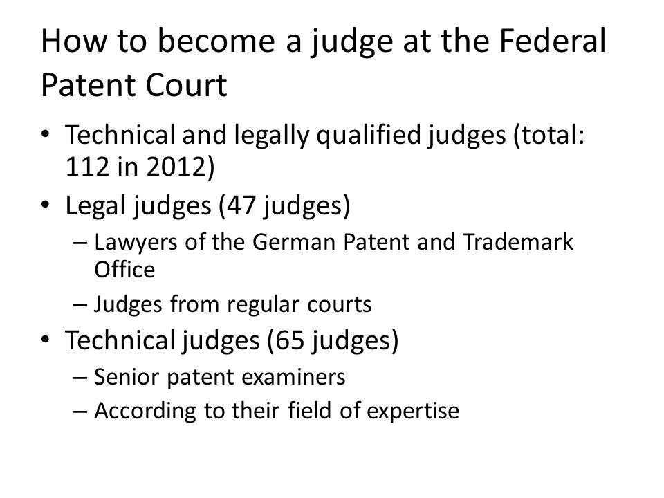 How to become a judge at the Federal Patent Court