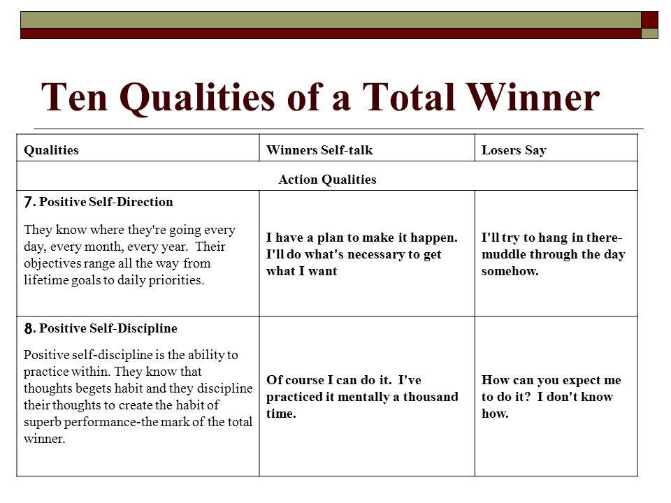 Ten Qualities of a Total Winner