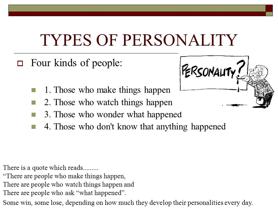 TYPES OF PERSONALITY Four kinds of people: