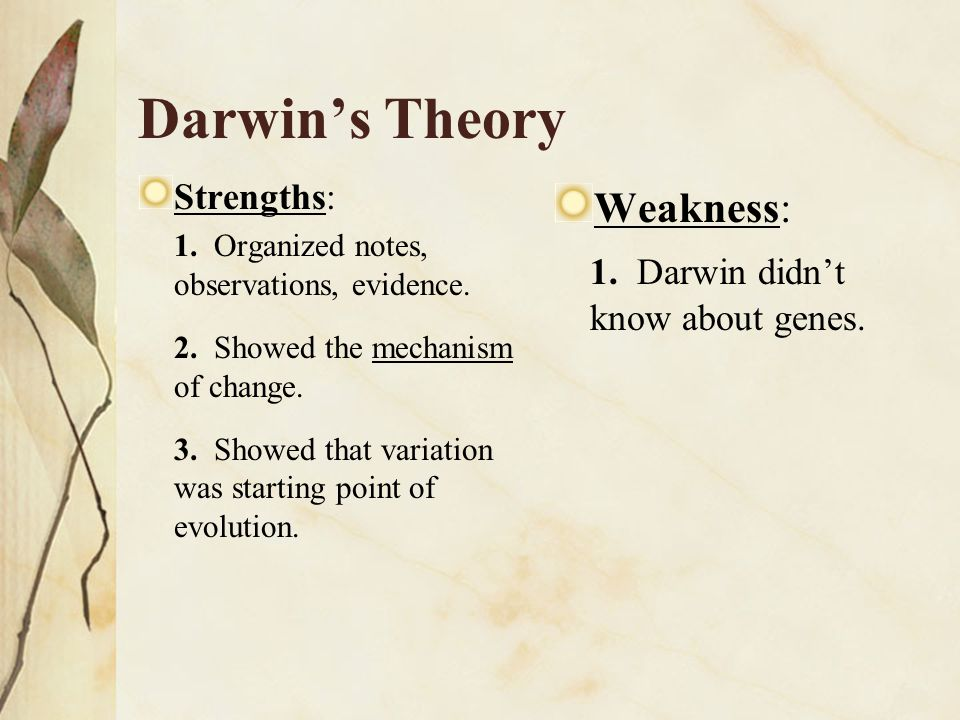 Darwin's Theory Weakness: 1. Darwin didn't know about genes.