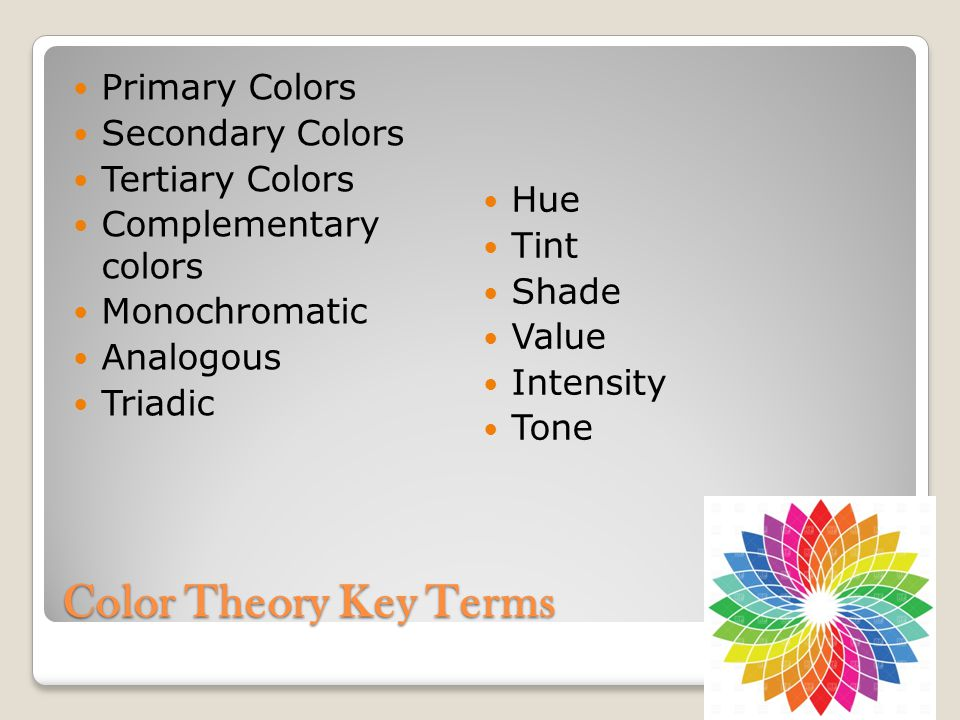 Color Theory Key Terms Primary Colors Secondary Colors Tertiary Colors