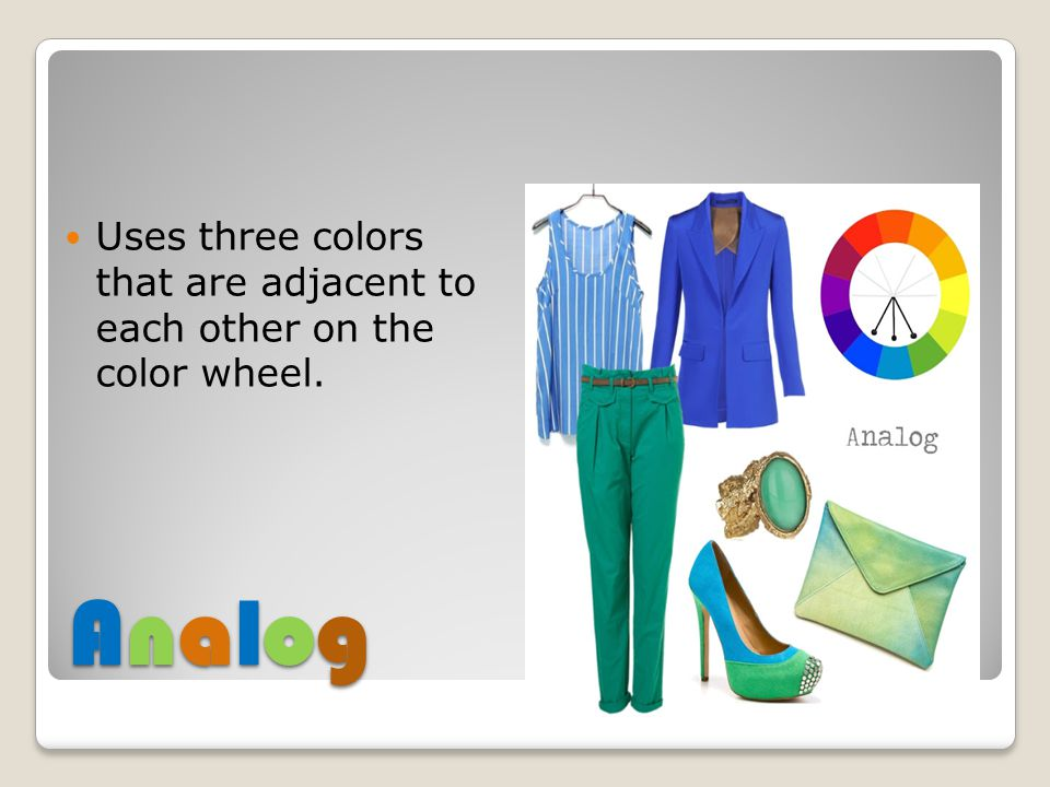 Uses three colors that are adjacent to each other on the color wheel.