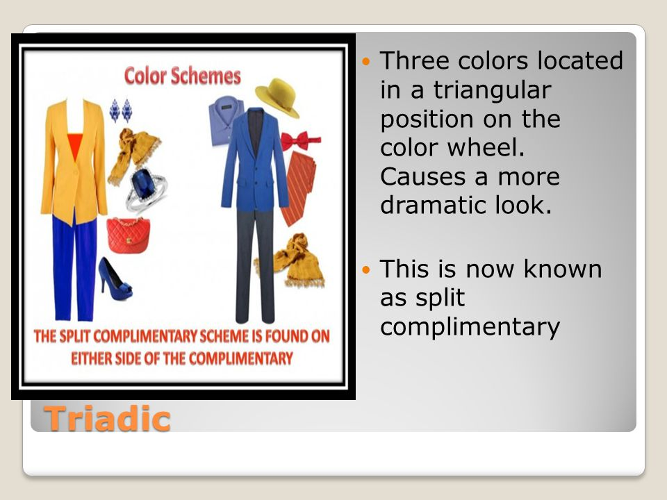 Three colors located in a triangular position on the color wheel