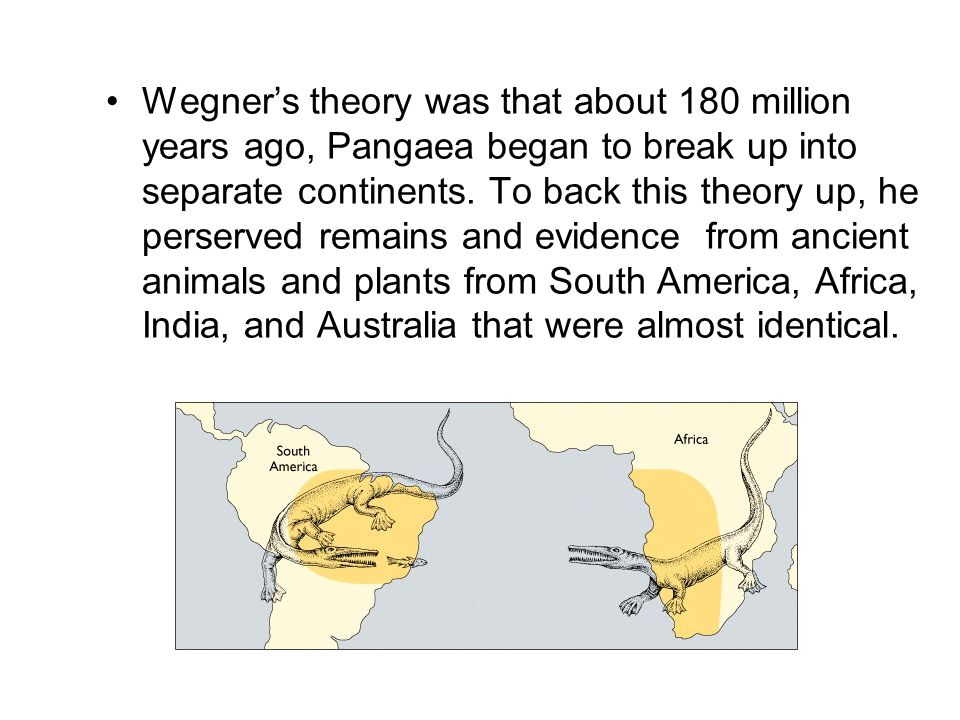 Wegner's theory was that about 180 million years ago, Pangaea began to break up into separate continents.