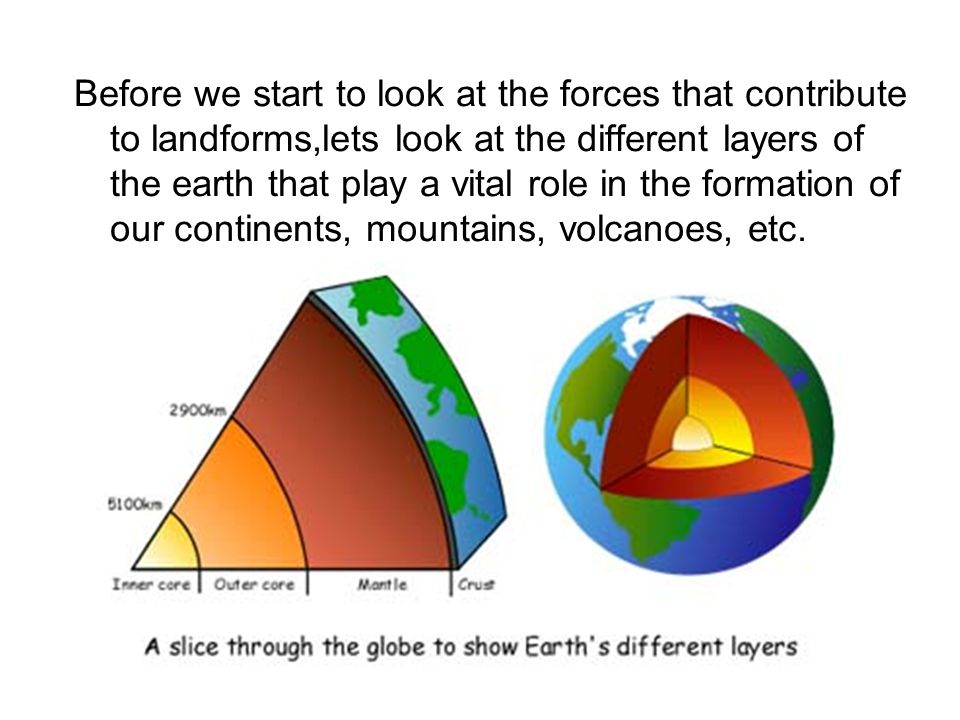Before we start to look at the forces that contribute to landforms,lets look at the different layers of the earth that play a vital role in the formation of our continents, mountains, volcanoes, etc.