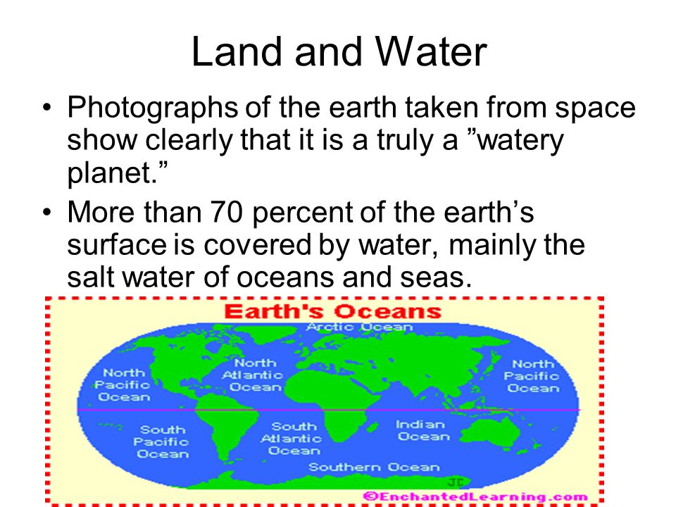 Land and Water Photographs of the earth taken from space show clearly that it is a truly a watery planet.