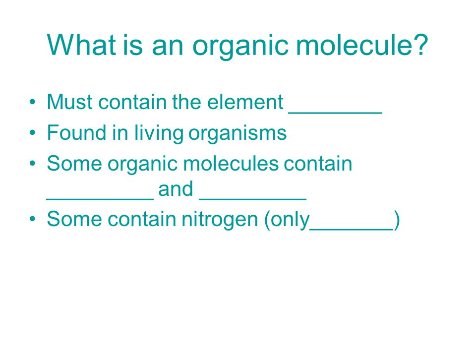 What is an organic molecule