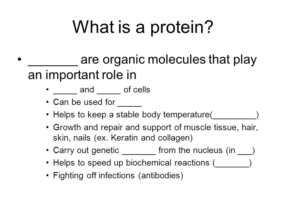 What is a protein _______ are organic molecules that play an important role in. _____ and _____ of cells.
