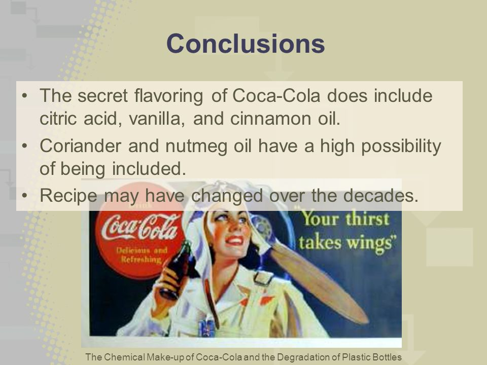 Conclusions The secret flavoring of Coca-Cola does include citric acid, vanilla, and cinnamon oil.