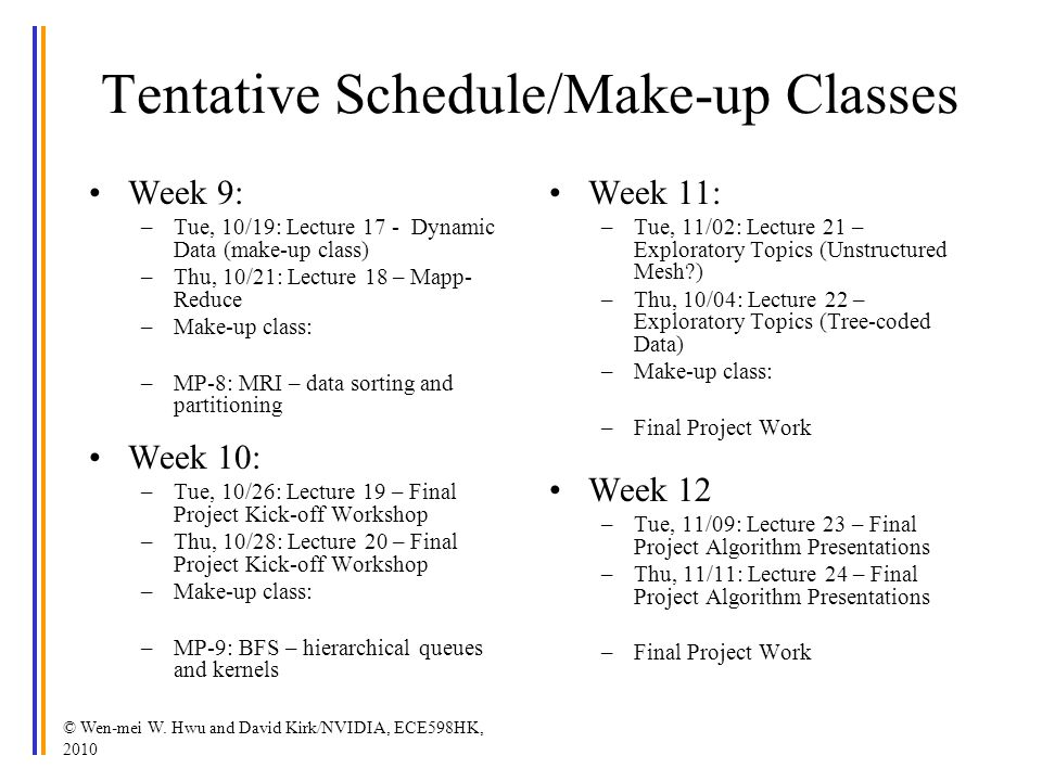 Tentative Schedule/Make-up Classes