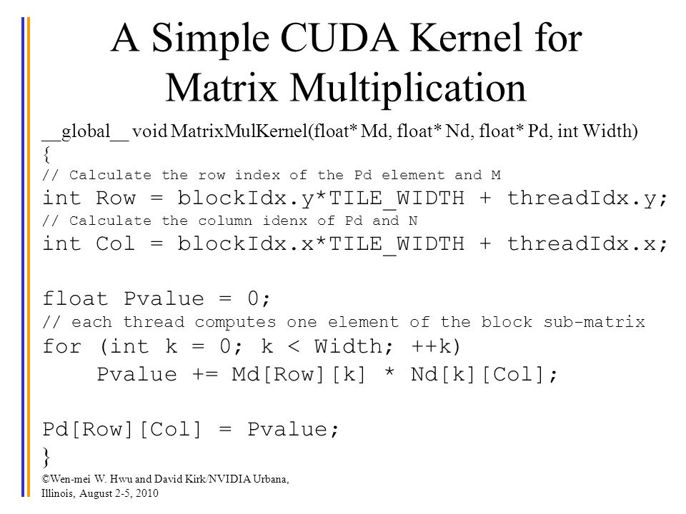 A Simple CUDA Kernel for Matrix Multiplication