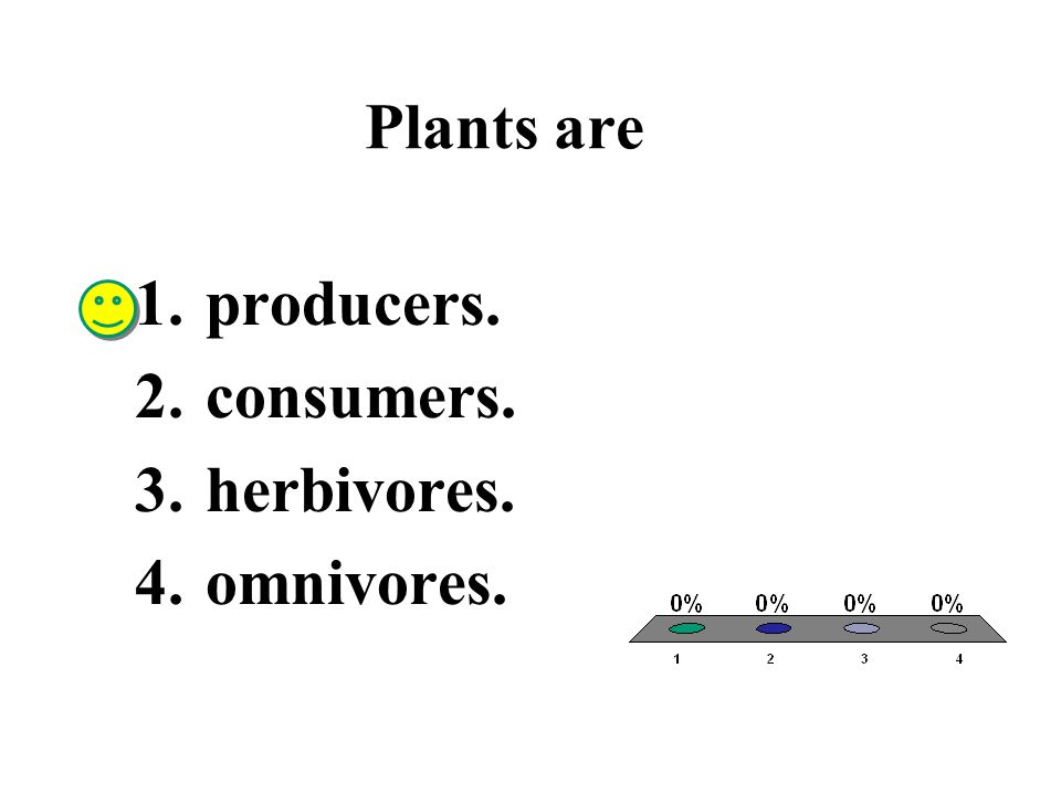 Plants are producers. consumers. herbivores. omnivores.