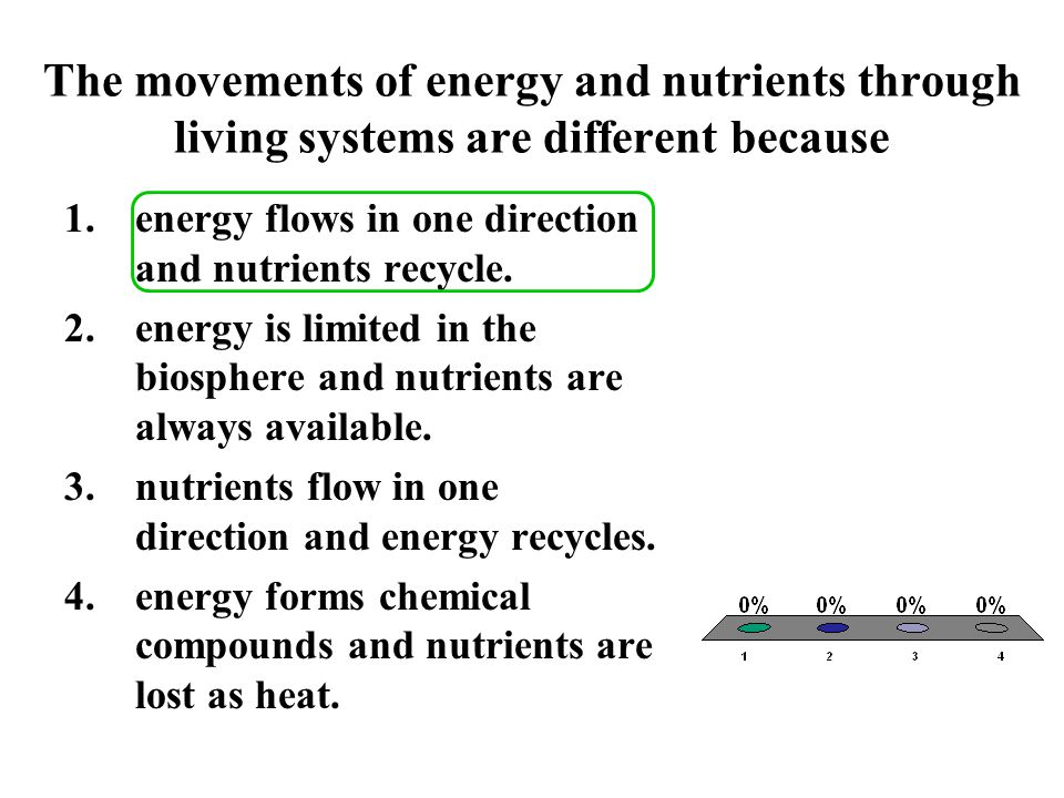 The movements of energy and nutrients through living systems are different because