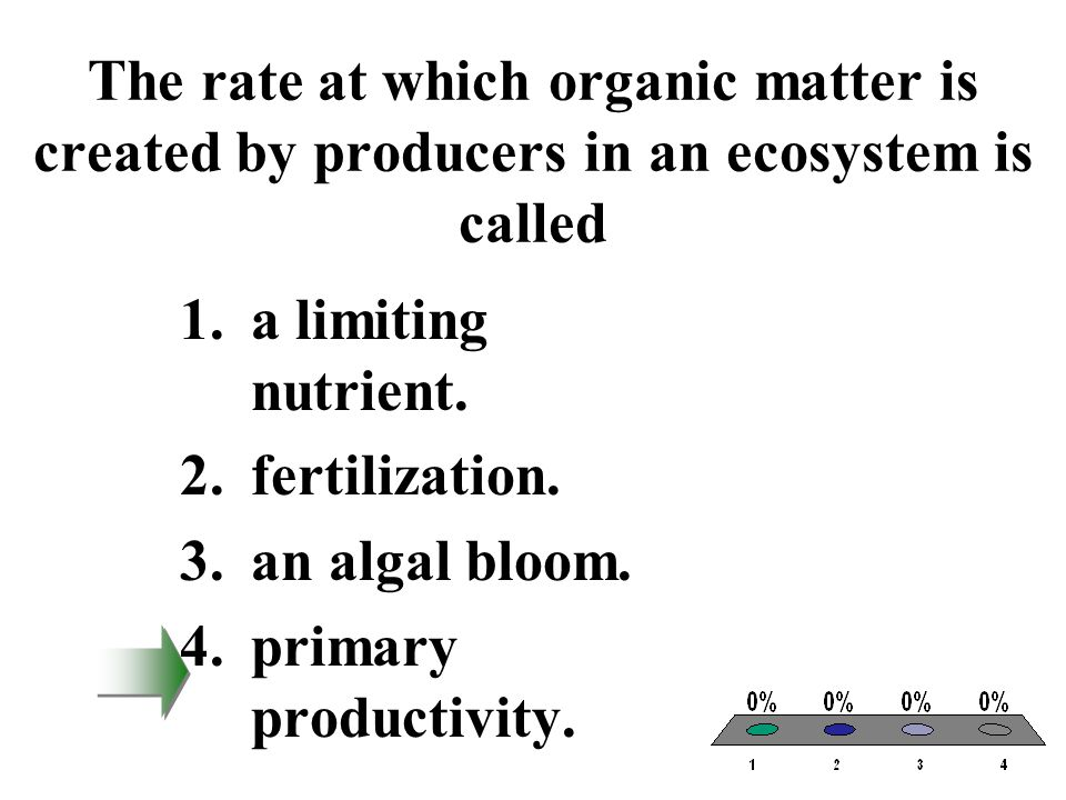 The rate at which organic matter is created by producers in an ecosystem is called