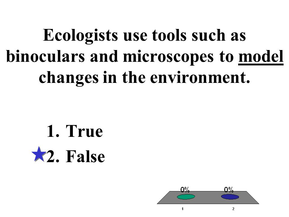 Ecologists use tools such as binoculars and microscopes to model changes in the environment.