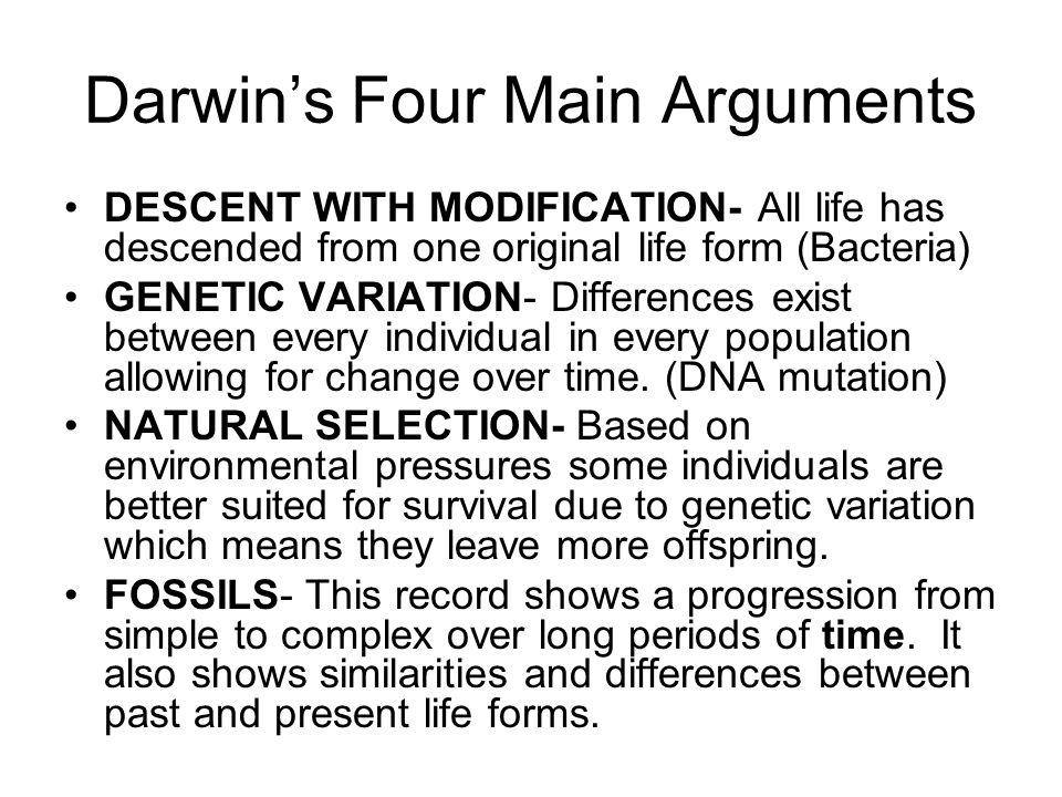 Darwin's Four Main Arguments