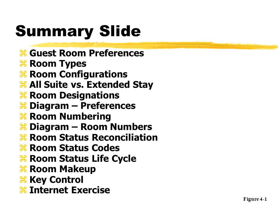 Summary Slide Guest Room Preferences Room Types Room Configurations