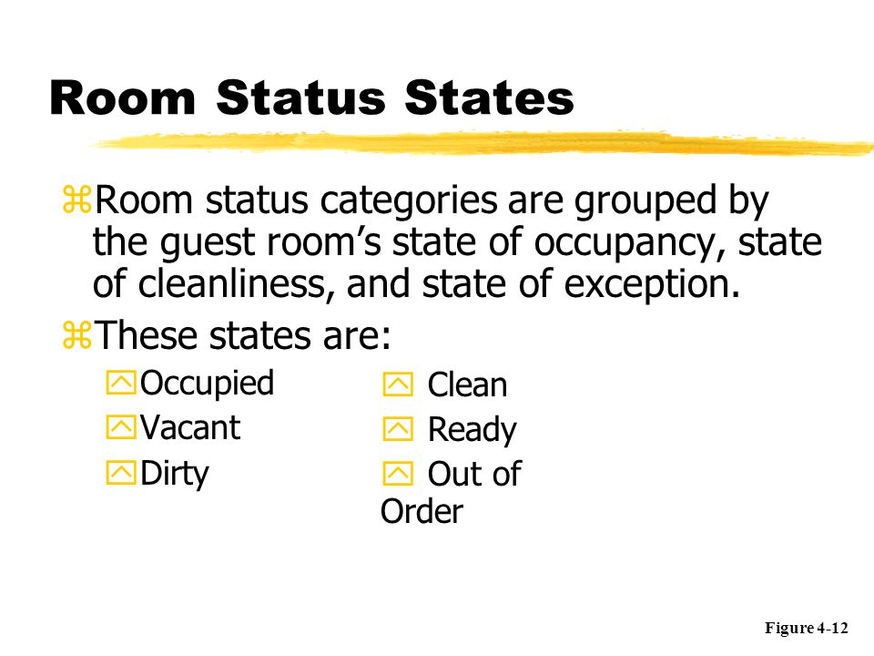 Room Status States Room status categories are grouped by the guest room's state of occupancy, state of cleanliness, and state of exception.