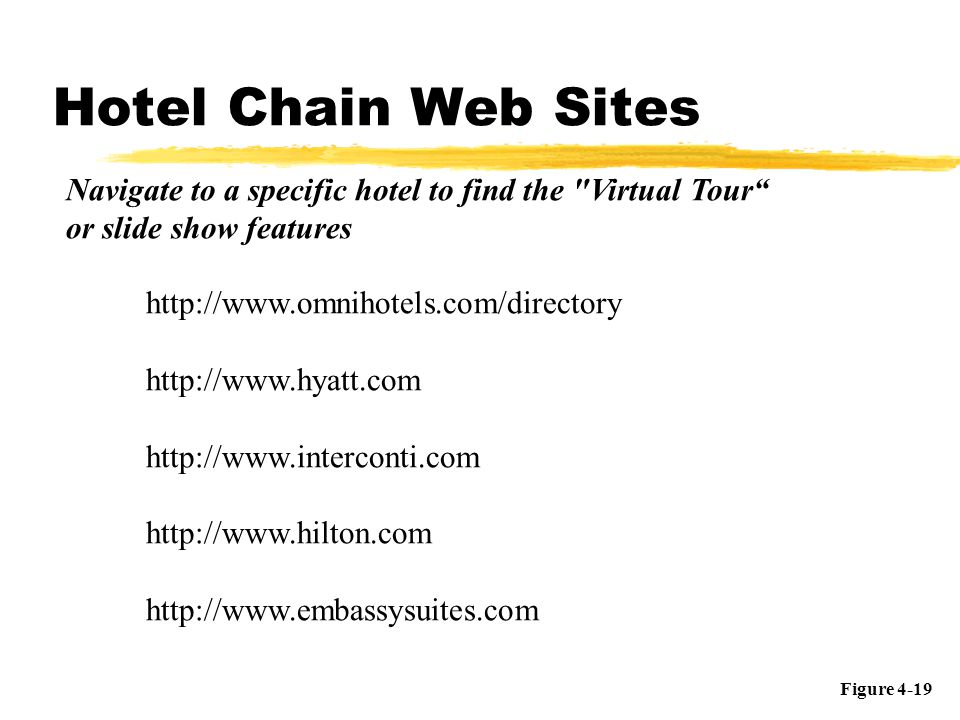 Hotel Chain Web Sites Navigate to a specific hotel to find the Virtual Tour or slide show features.
