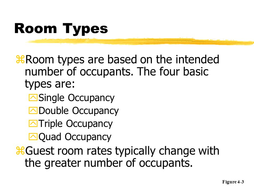 Room Types Room types are based on the intended number of occupants. The four basic types are: Single Occupancy.