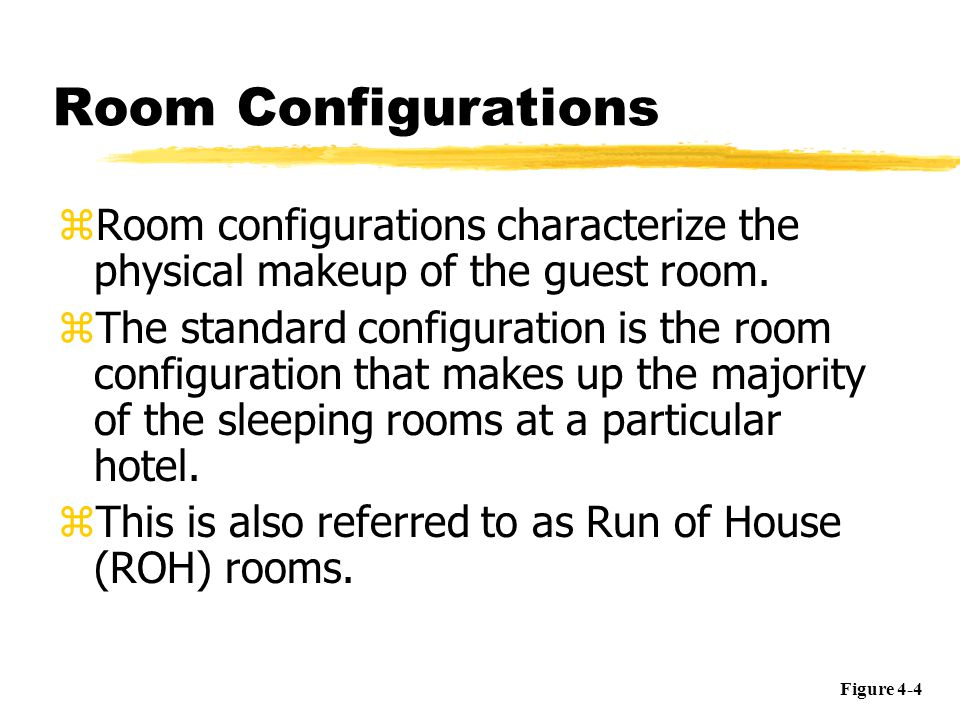 Room Configurations Room configurations characterize the physical makeup of the guest room.