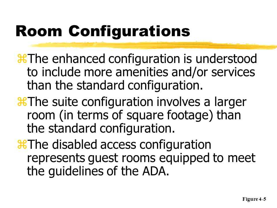 Room Configurations The enhanced configuration is understood to include more amenities and/or services than the standard configuration.