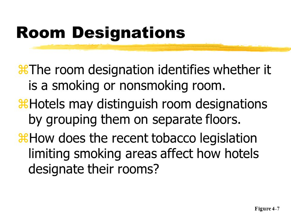 Room Designations The room designation identifies whether it is a smoking or nonsmoking room.