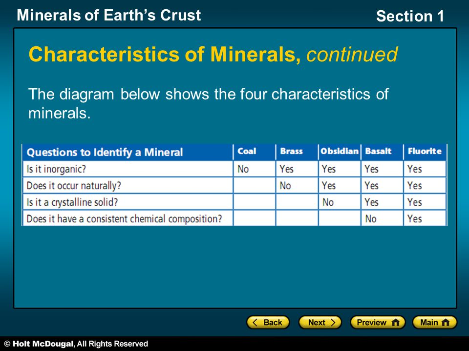 Characteristics of Minerals, continued