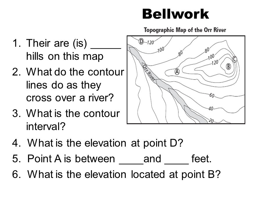 Bellwork Their are (is) _____ hills on this map