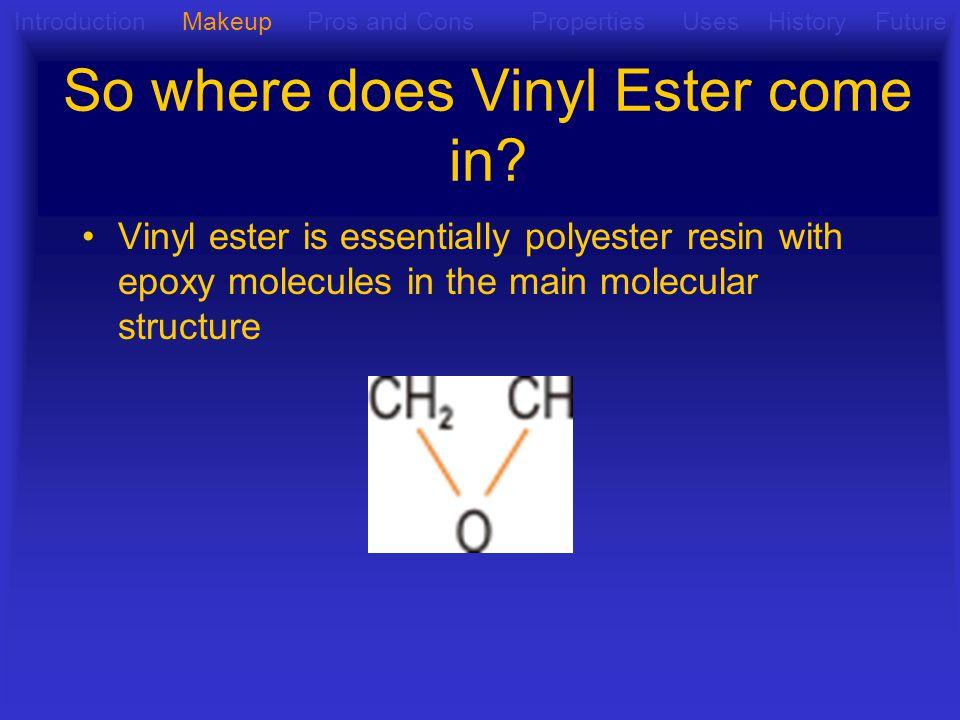 So where does Vinyl Ester come in