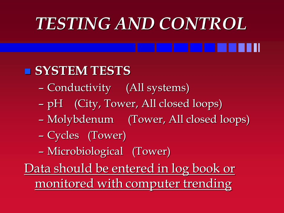 TESTING AND CONTROL SYSTEM TESTS