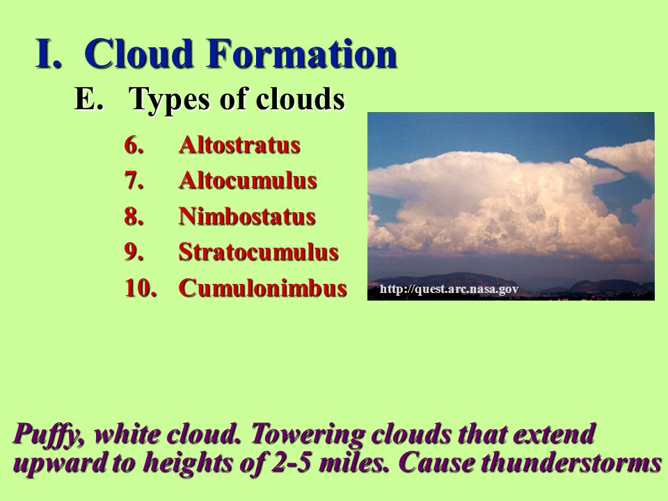 I. Cloud Formation Types of clouds